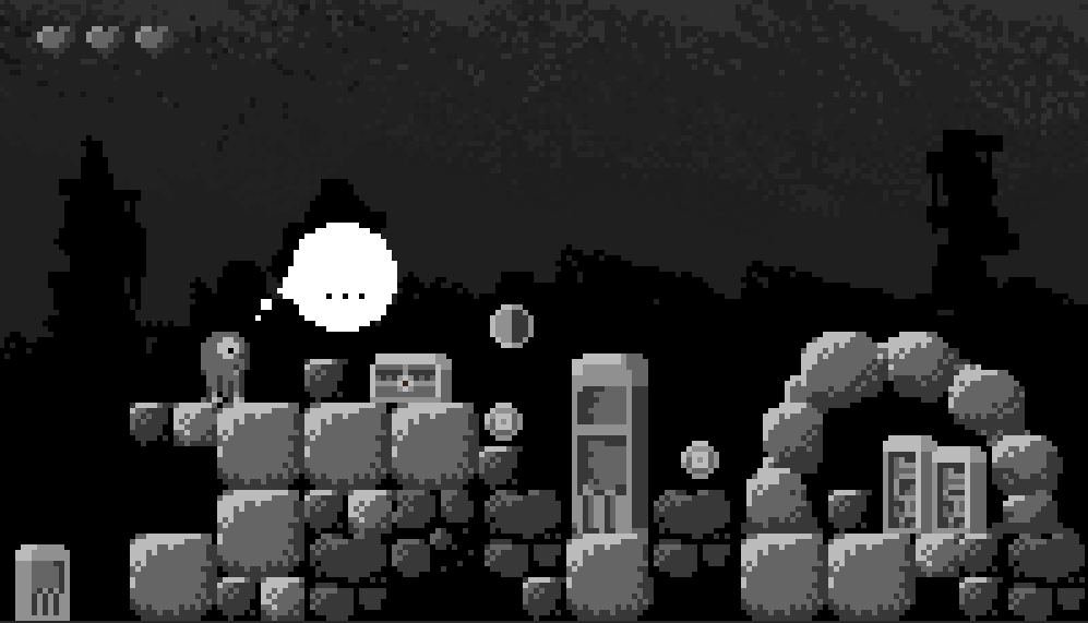 black and white pixelart scene