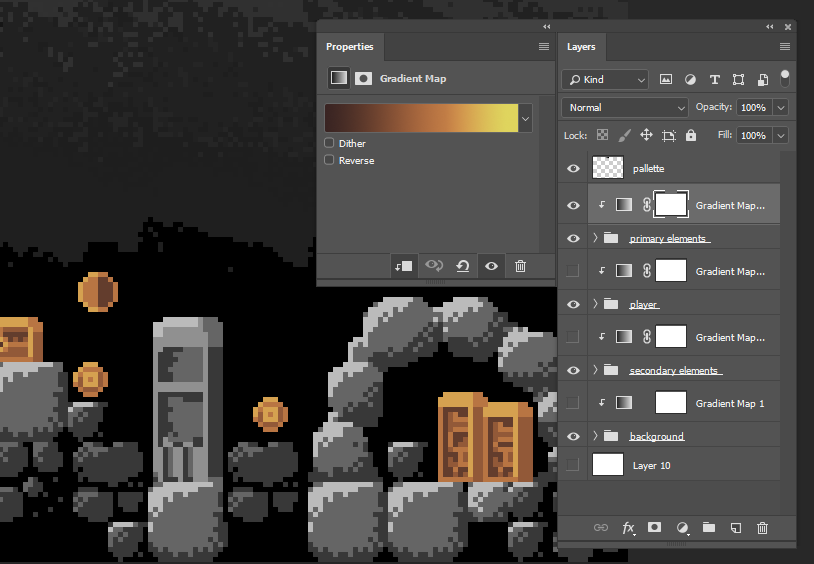 gradient mapping on pixelart scene